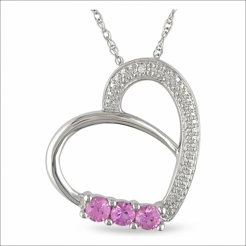 Yellow white gold pendants look what this pretty heart pendant has got to offer you this is a cute heart shaped pendant with three pink saphire stones and various tiny accented aloadofball Gallery