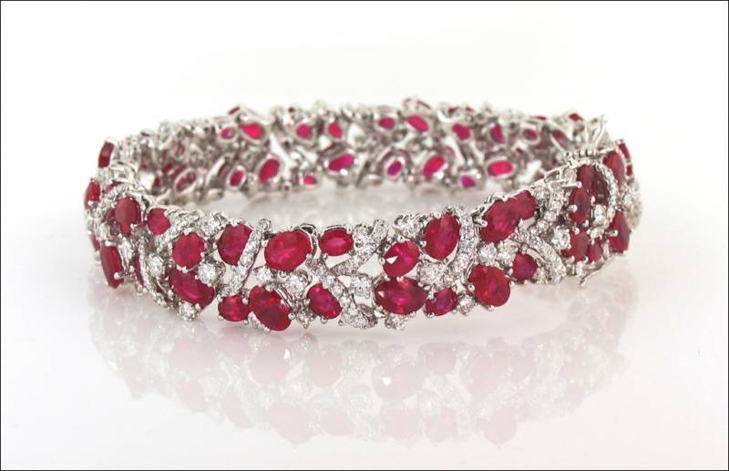 color tone amazon faith red heart ruby birthstone roman shaped ever com tennis gorgeous july cz silver slp bracelet
