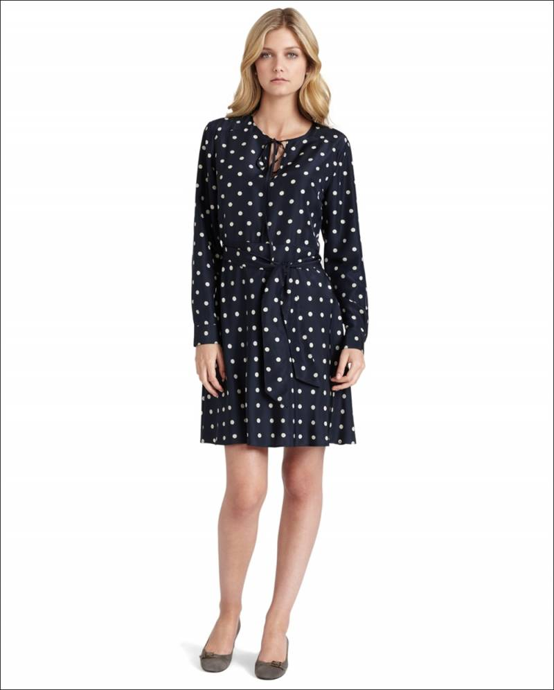 Navy Blue Polka Dot Dresses...Charm With Warmth!