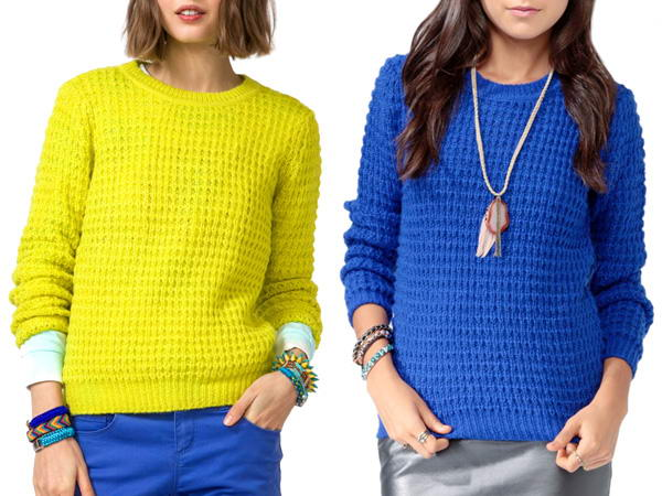 forever-21-waffle-knit-sweater-lime-yellow-royal-blue-acne-lina-pineapple-knockoff