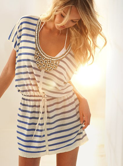 Forever 21 White And Blue Stripe Summer Dress Embellished Cover Up Sweater