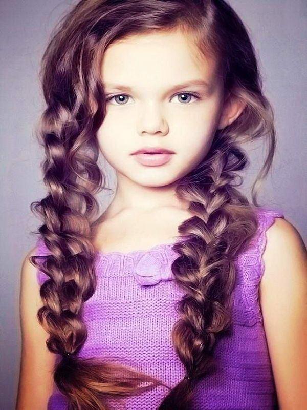 Стрижки на длинные волосы для девочек с челкой
