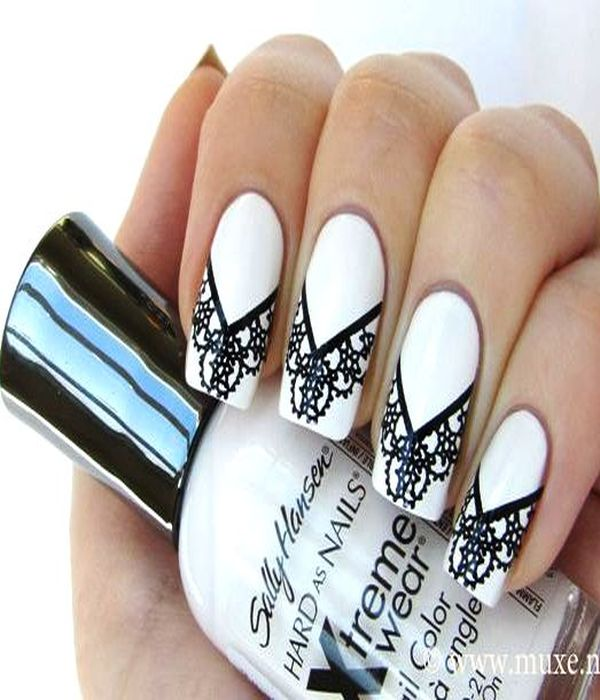 Black And White Bold Nail Art Designs For Your Nails - Henna Nail Designs Makedes.com