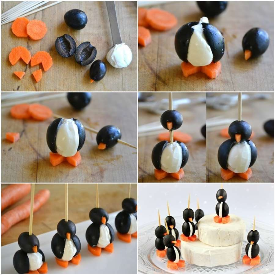 Stylish Board Cream Cheese and Olive Penguins