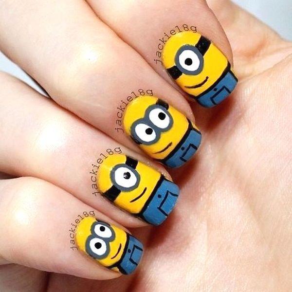despicable me minions nail art - Check Out This Minion Nails!