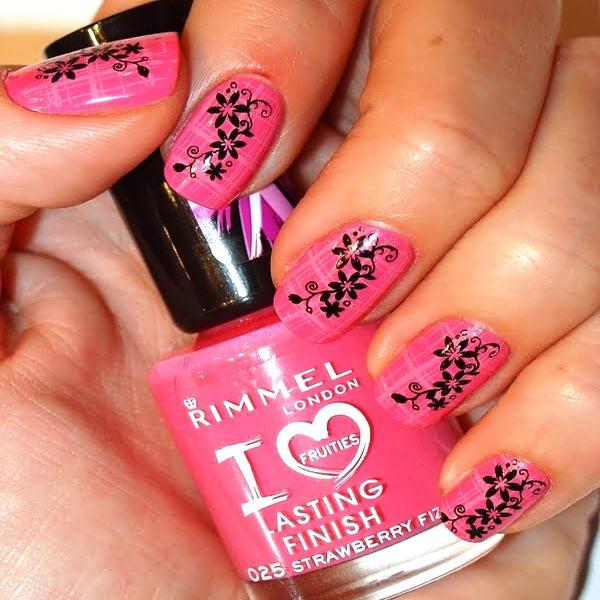floral print nail art design