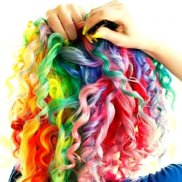 rainbow coloured hair