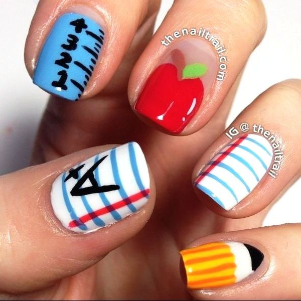 back to school nail art design - Back To School Nail Art Designs For Young Ladies!