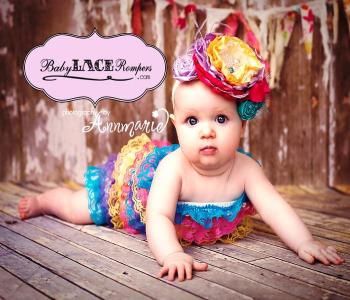 6e74ce0b8fad Colourful Lace Ruffle Rompers For Your Little Darling!