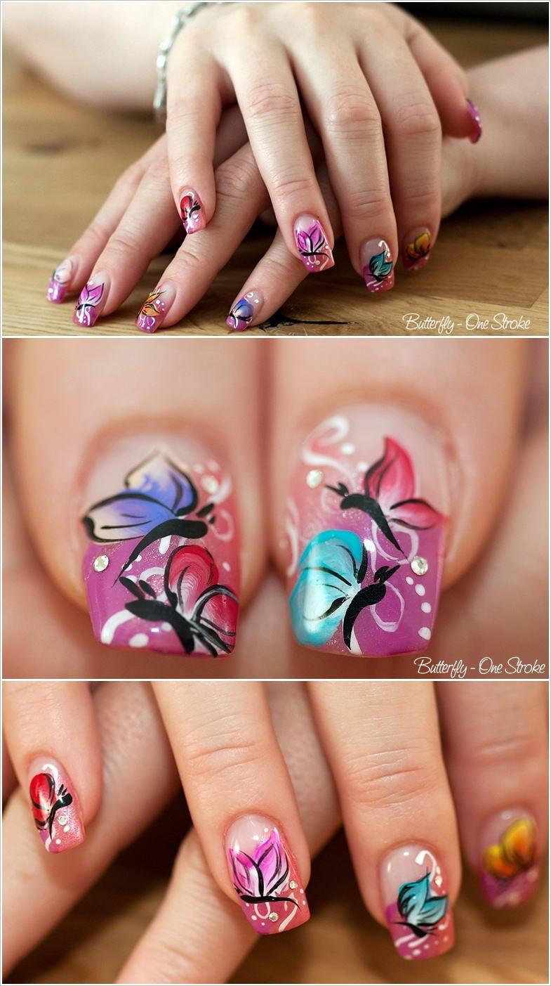 Косой рисунок на ногтях