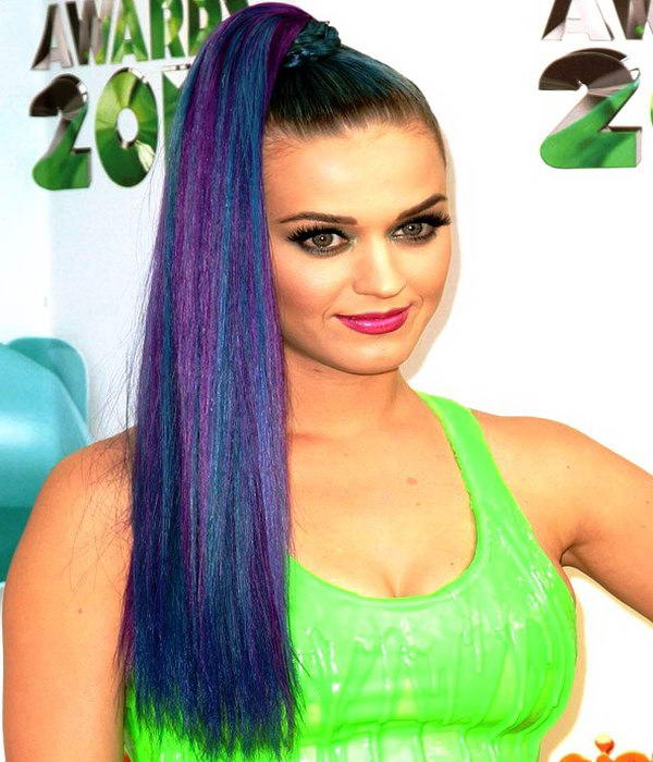 multi-coloured pony hairstyle