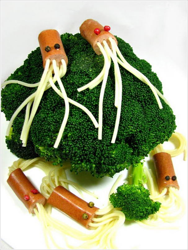 Creatures-with-Soy-Sausages-and-Spaghetti