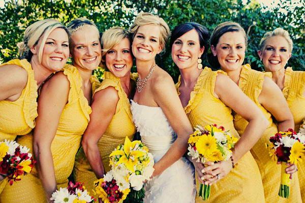 bright yellow bridesmaid dresses