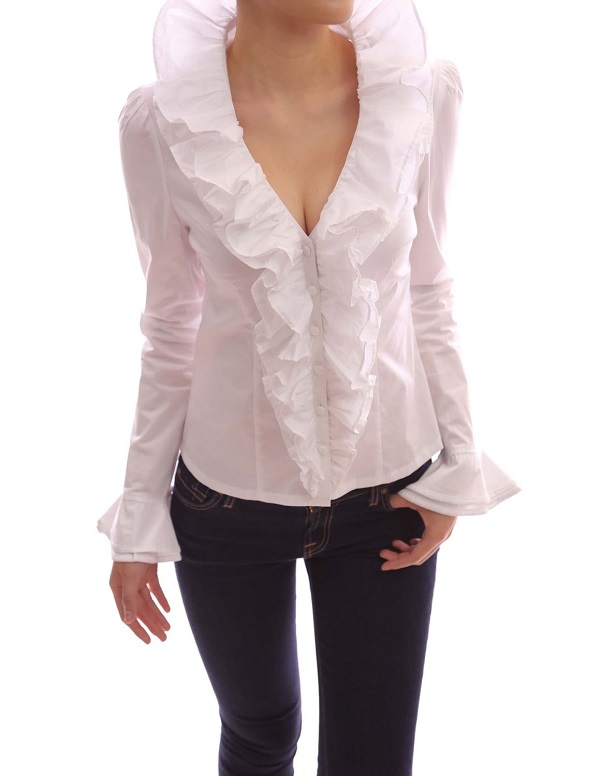 White Frilly Blouses 32