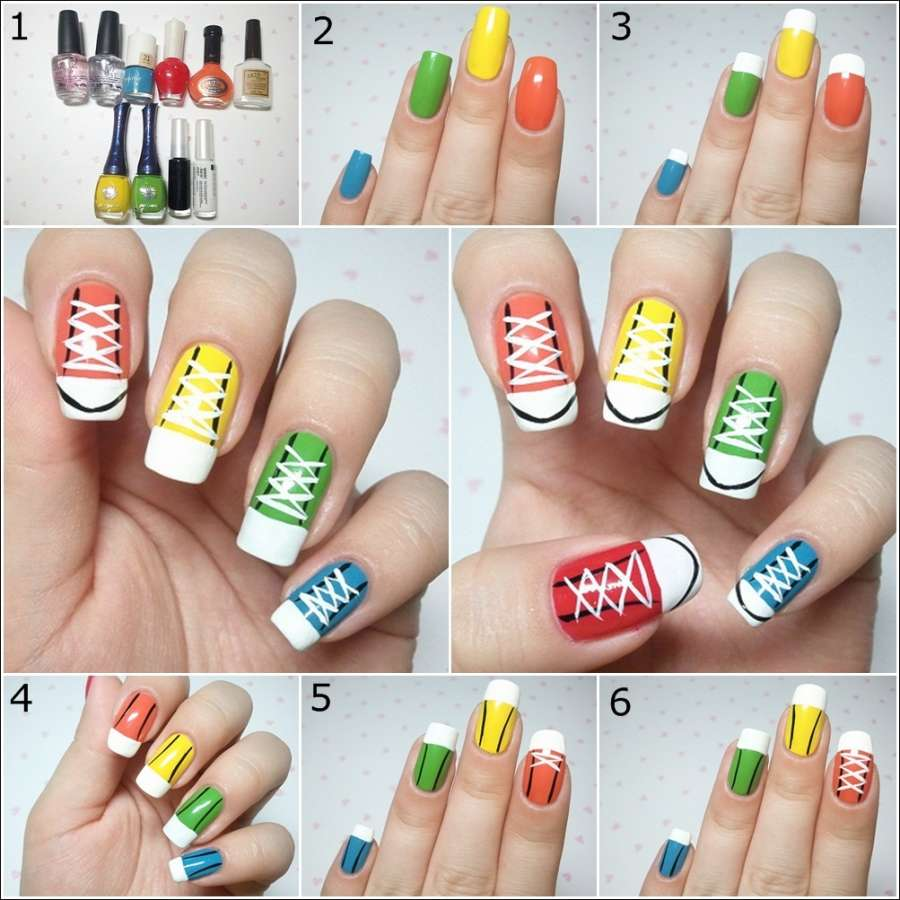 Diy cool and chic sneakers nail art prinsesfo Image collections