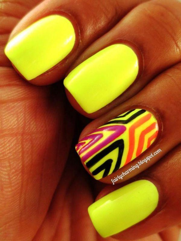 Дизайн ногтей оранжевый салатовый и желтый фото