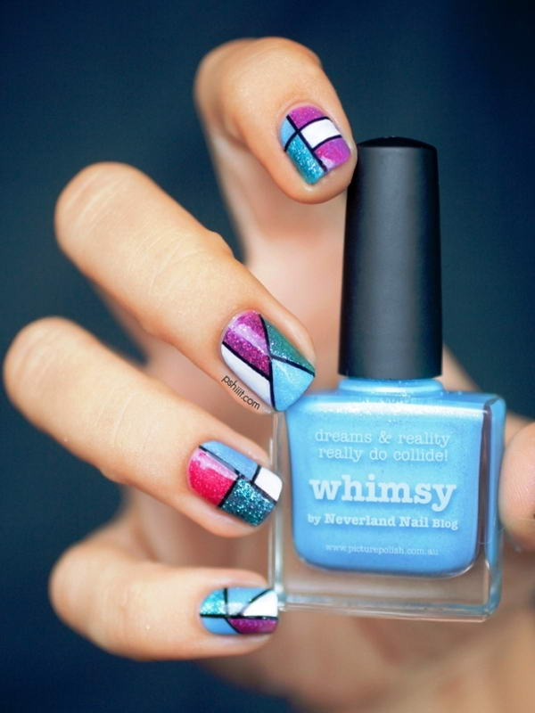 Who wants to try these trendy colour block nail arts prinsesfo Image collections