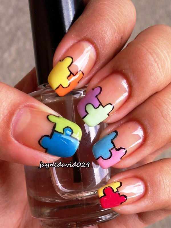 Who would like to try some puzzle nail arts puzzle nail art prinsesfo Images