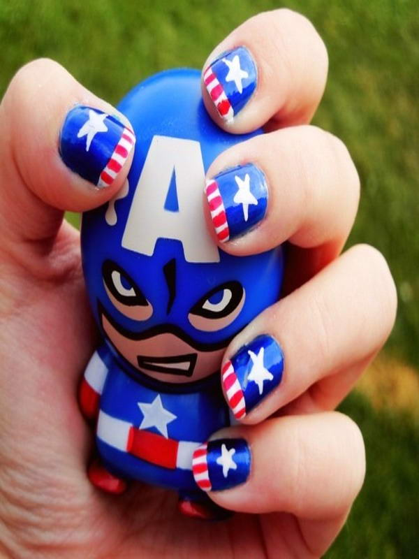 captain america nail art - Who Wants To Get These Superhero Nail Arts?
