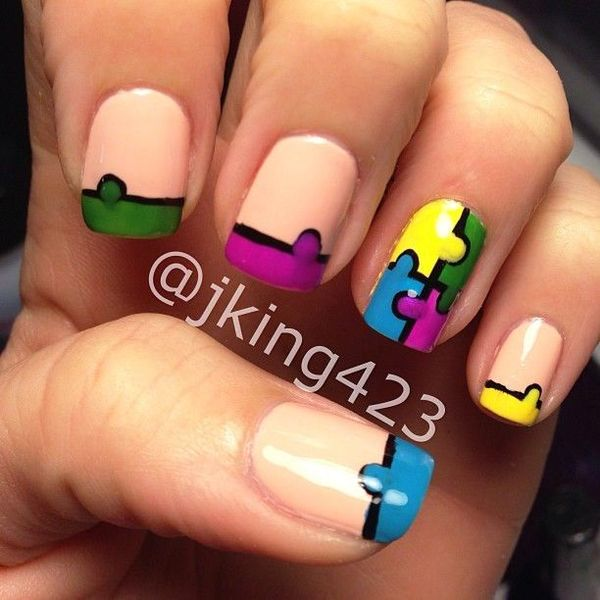 Puzzle nail art gallery nail art and nail design ideas who would like to try some puzzle nail arts puzzle nail art prinsesfo gallery prinsesfo Images