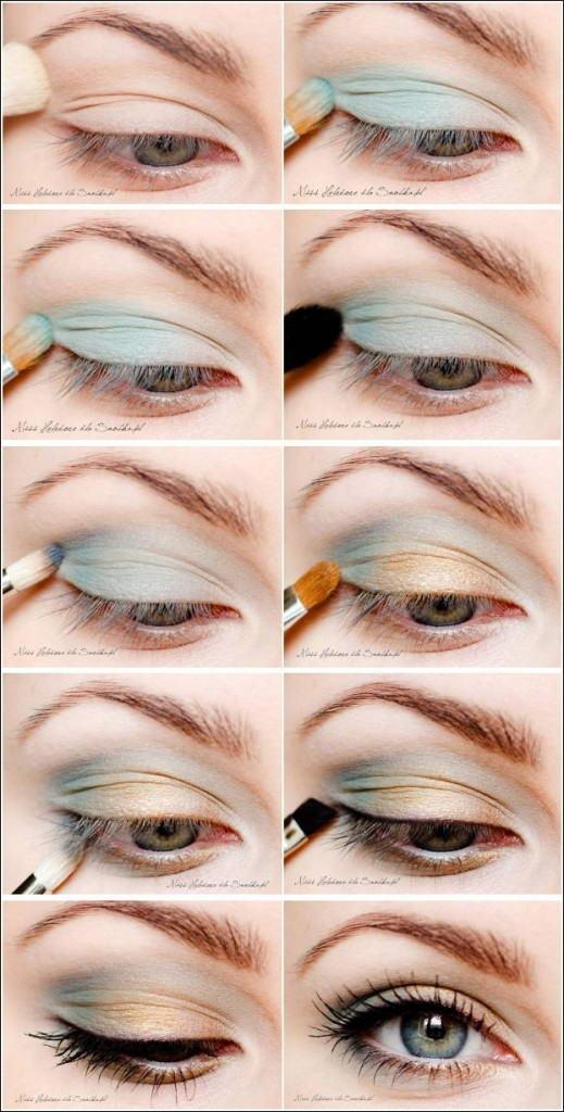 Макияж для серо-зелёных глаз и русых волос пошагово в
