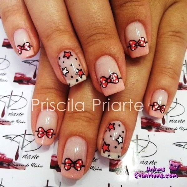 how to draw a bow tie on your nails