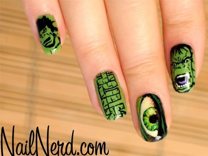 hulk nail art