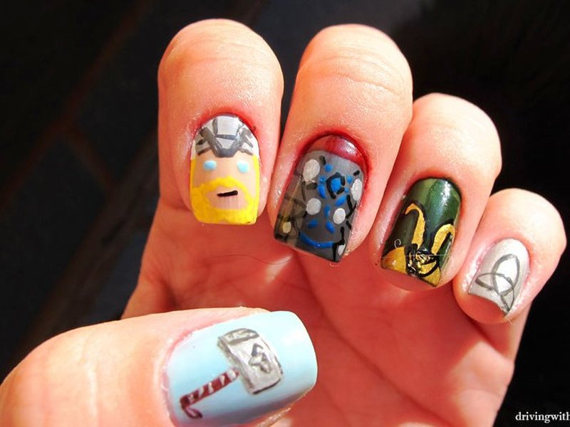 Who wants to get these superhero nail arts thor nail art prinsesfo Gallery