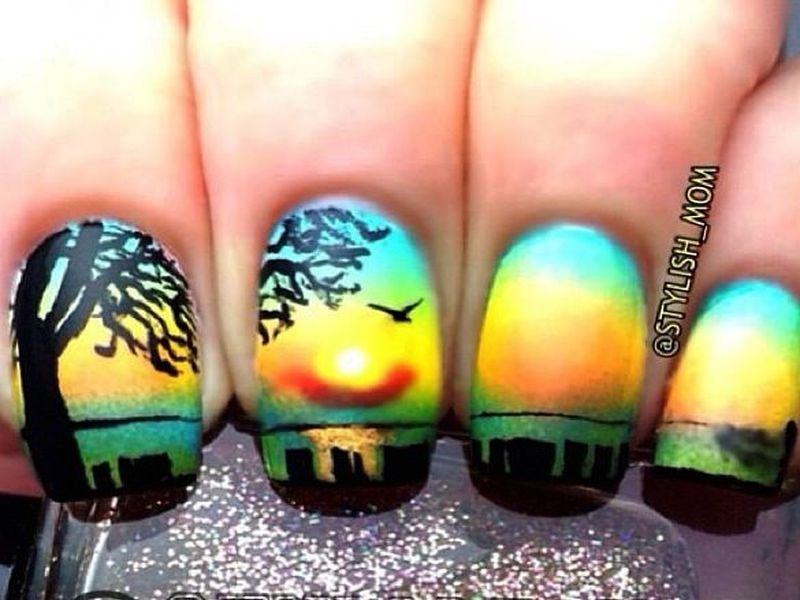 sunset nail art - Who Wants To Try These Scenic Sunset Nail Arts?