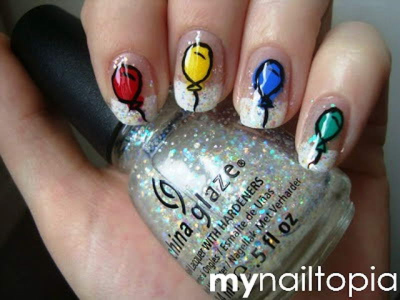 Who is in a festive mood to get these balloon nail arts balloon nail art prinsesfo Choice Image