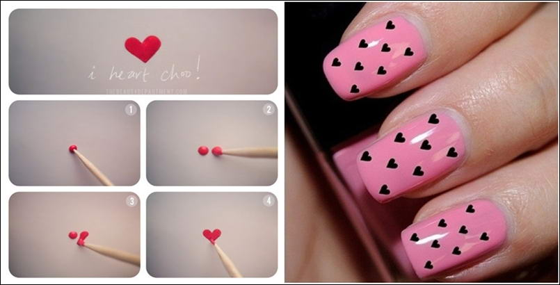 Easy to make heart nail art tutorial prinsesfo Choice Image