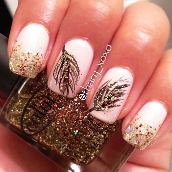 Stylish board who would like to try these pretty feather nail arts