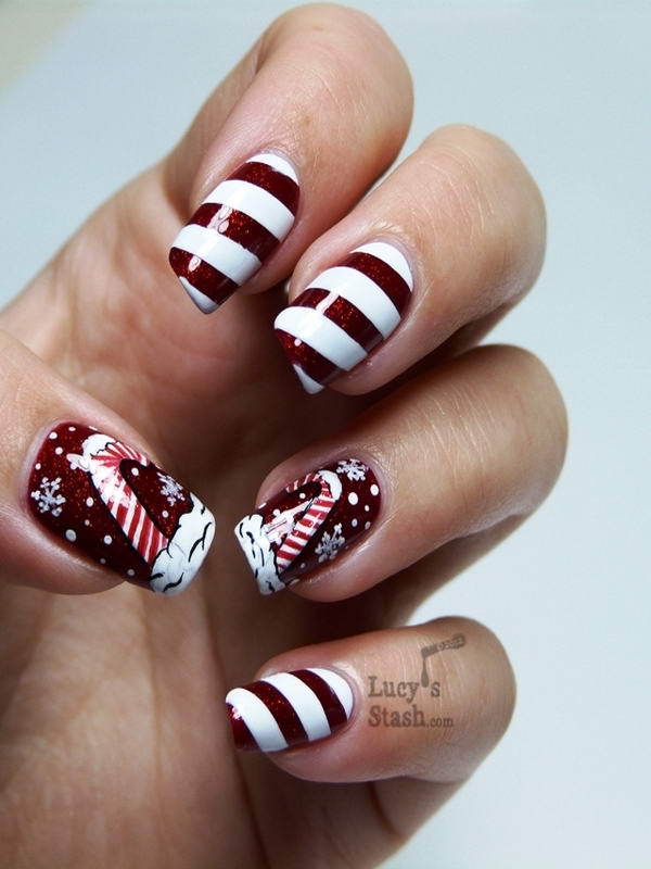 Who wants to try these candy cane nail arts candy cane nail art prinsesfo Image collections