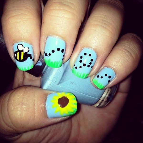 Who will try these adorable bee nail arts bee nail art prinsesfo Image collections