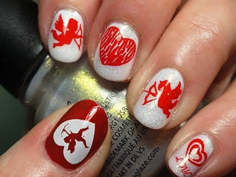 Cupid nail arts for valentines day cupid nail art prinsesfo Images