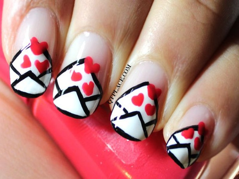 Envelope Nail Arts For Sending Your Message To The Beloved One