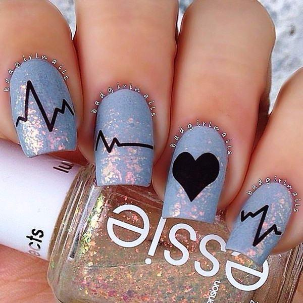 heartbeat nail art