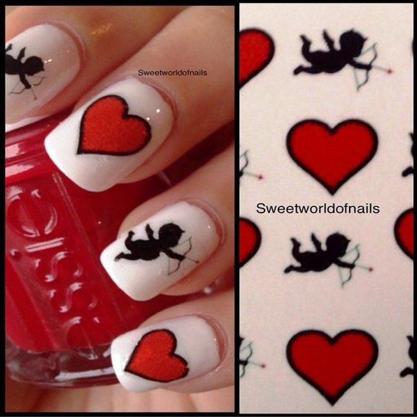 Cupid nail arts for valentines day cupid nail art prinsesfo Choice Image