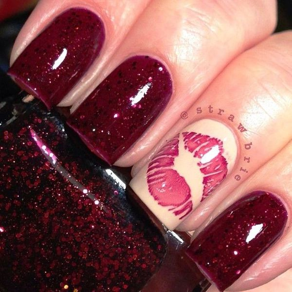 kiss nail art - Kiss Nail Arts For The Valentine's Day!