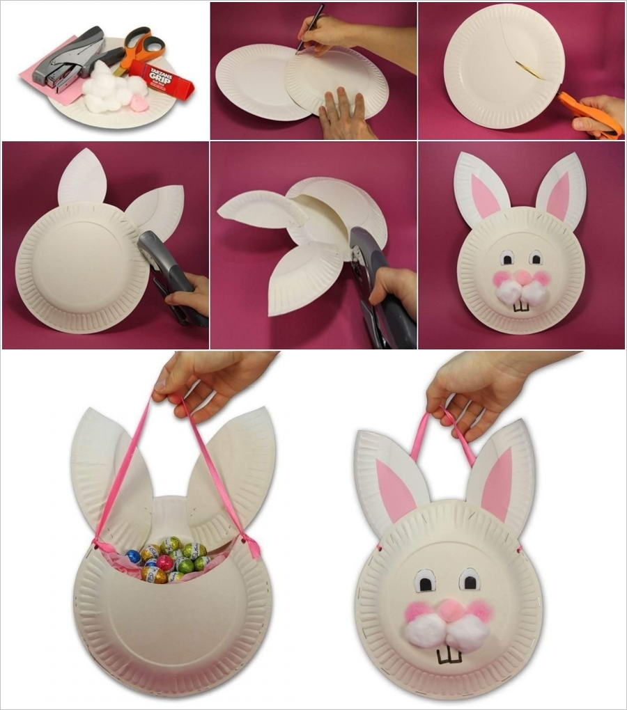 & How Cute and Easy is this Paper Plate Easter Bunny Bag