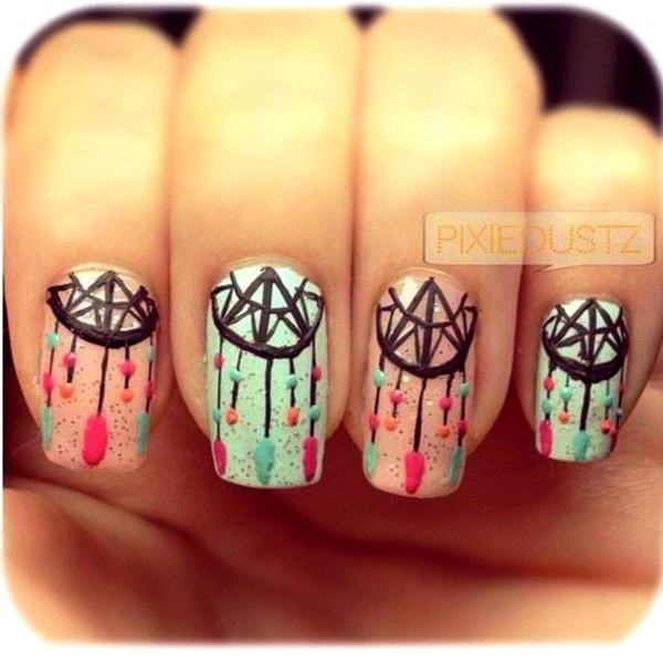 dream catcher nail art - Who Wants To Try These Enchanting Dream Catcher Nail Arts?
