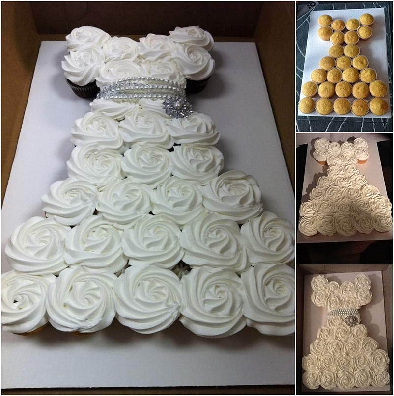 Cupcake Ideas For Wedding: Make An Amazing Wedding Dress Cupcake Cake For Bridal Shower