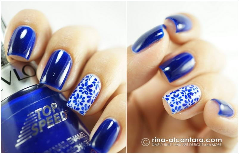 Try These Nifty Blue And White Nail Art Designs