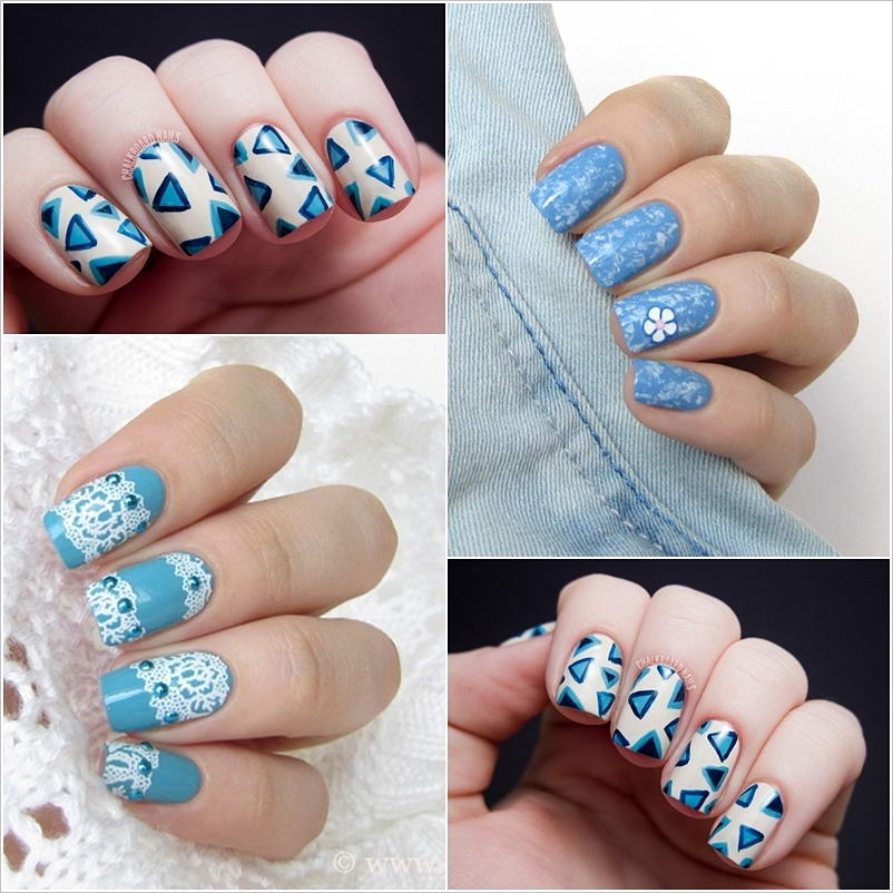 Try these nifty blue and white nail art designs prinsesfo Choice Image