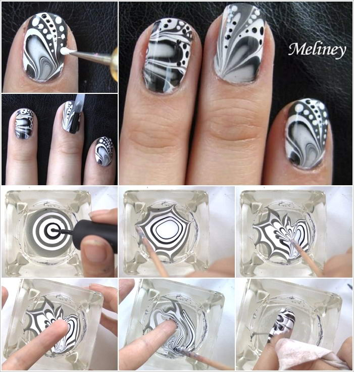 This Water Marble Nail Art Is So Stunning And Easy