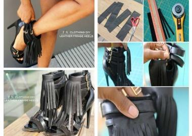 diy leather fringe heels
