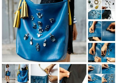 diy embellished rhinestone bag