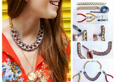 diy ribbon wrapped chain necklace
