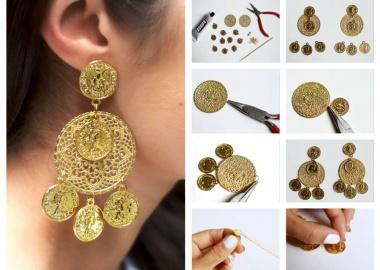 diy chandelier coin earrings