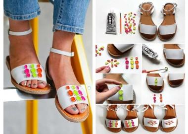 diy neon gem sandals